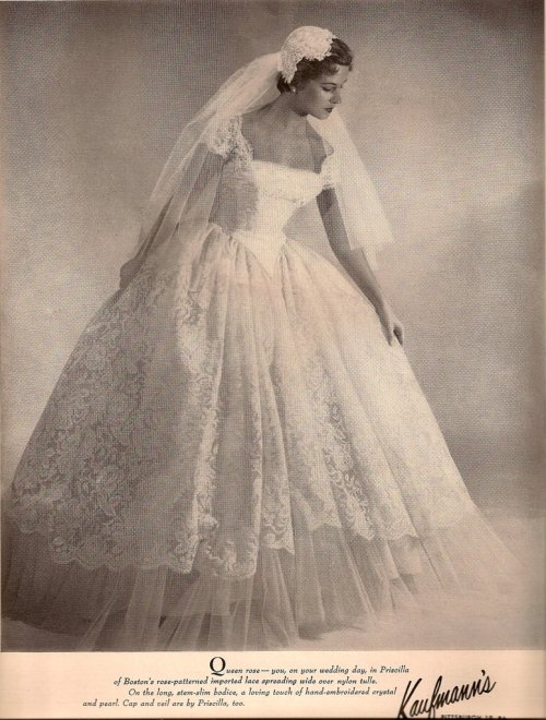 Check out these old advertisements for wedding gowns to think you could